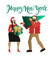 man and woman in santa hats married couple or vector image vector image