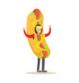 man wearing hot dog costume fast food snack vector image vector image