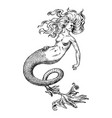 mermaid woman sea siren antique mythical greek vector image