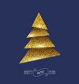 merry christmas card with golden christmas tree vector image