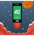Mobile with 4G internet flying in night sky vector image