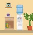 office place scene icons vector image vector image