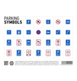 Parking zone sign isolated icon set vector image vector image