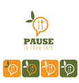 pause to food talk concept and icon set vector image vector image