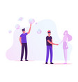 people use virtual reality technology for dating vector image vector image