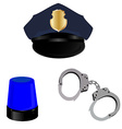 Police hat light and handcuffs vector image vector image