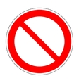 Red no not allowed symbol on white background 2 vector image vector image