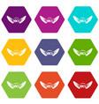 rock icon set color hexahedron vector image