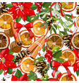 seamless festive pattern withpoinsettia cinnamon vector image
