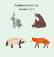 set animal icons in paper style vector image
