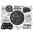 set easter hand drawn lettering eggs vector image