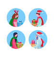 set mix race people holding gift box happy new vector image vector image