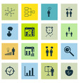 Set of 16 administration icons includes bar chart