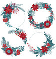 set of christmas floral wreaths with winter vector image vector image