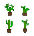 set of monochrome icons with cactus vector image
