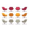 Set of retro armchairs crimson orange and grey vector image vector image