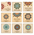 Set ornamental flower mandala greeting cards vector image