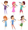 singing kids happy cute children music voice vector image vector image