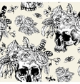skull flowers day of the dead black vector image