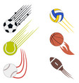 sports flying balls set with speed motion trails vector image vector image
