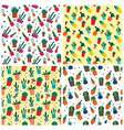 succulent pattern set flat style vector image vector image
