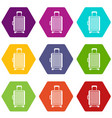 suitcase on wheels icon set color hexahedron vector image vector image