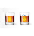 transparent glass scotch whiskey or rum vector image