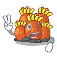 two finger orange coral reef isolated with mascot vector image