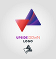 upside down arrow logo template vector image vector image