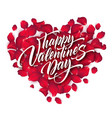valentines day lettering on background with rose vector image vector image