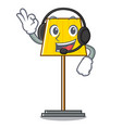 with headphone floor lamp mascot cartoon vector image