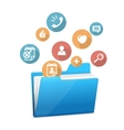 Yellow file folder icon and flat icons vector image