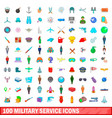 100 military service icons set cartoon style vector image vector image