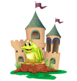 A frog prince with a castle at his back vector image vector image