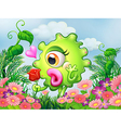A one-eyed green monster at the garden vector image vector image
