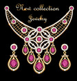 a set jewelry necklace and earrings with a vector image vector image