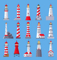architectural lighthouse sea beacons with vector image vector image