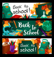 back to school green chalkboard banners vector image vector image