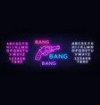 bang bang gun neon sign pop art design vector image