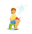 beautiful woman sitting on the kids small stool vector image