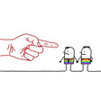 big hand with cartoon character - pointing finger vector image vector image