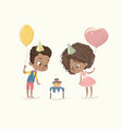 birthday party characters cite african-american vector image