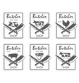 butcher shop emblems set vector image vector image