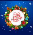 christmas wreath xmas tree gifts bell candy vector image vector image