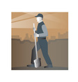 cleaner street sweeper with broom working retro vector image vector image