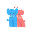 couple of elephants in love embracing each other vector image vector image