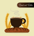 delicious french bread and coffee label vector image vector image