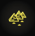 egyptian pyramids icon in glowing neon style vector image vector image