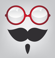 Funny mask red sunglasses and mustache vector image vector image