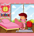girl making bed in pink bedroom vector image vector image